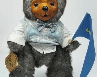 Raikes Collectible Wooden Bear 'Reginald' Signed Limited Edition with Hang Tag Vintage 1986 Collectible Bear