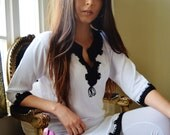 Winter Trend White with Black Embroidery Moroccan Tunic Khalia-perfect for birthday gifts, holiday wear, casual wear, mother's day