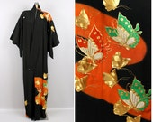 vintage butterfly KIMONO kuro tomesode • gold embroidered butterflies