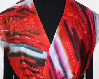 Red Black White Silk Scarf Hand Painted RED TIGER. Hand Dyed Silk Scarf in Several SIZES. Birthday, Bridesmaid Gift. Silk Scarves Colorado