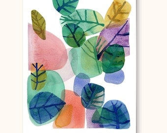 Watercolor painting, watercolor green leaves, watercolor nature watercolor print