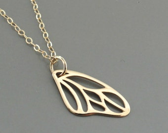 Gold Necklace - Butterfly Wing Necklace - Layering Necklace - Layered Necklace - Bohemian Necklace - handmade jewelry