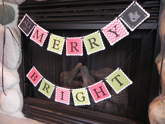All Is Merry and Bright---A Decorative Christmas Banner for the Holiday Home---Ready to Ship