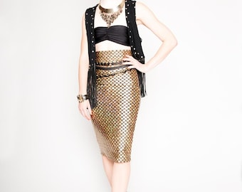Gold Mermaid Pencil Skirt