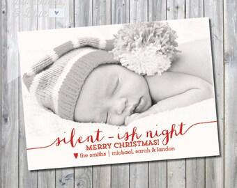 Printable Silent-ish Night Holiday Photo Card
