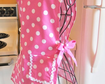 Girl's Vintage Style Smock in Pink Polka Dots