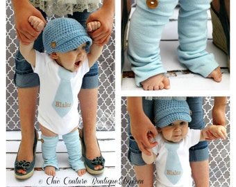 Easter Spring NEW Baby Boy Coming Home Outfit Baby Blue Herringbone Personalized Tie Bodysuit & Wood Buttons. 1st Birthday Outfit, Valentine