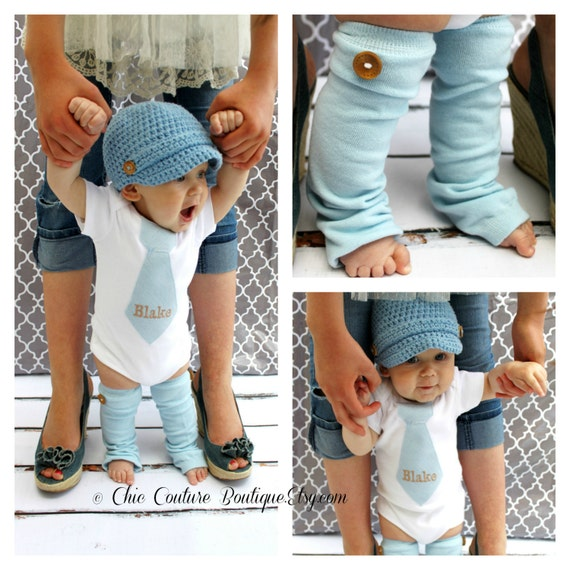 NEW Baby Boy Baby Blue Herringbone Personalized Tie Bodysuit & Wood Buttons. 1st First Birthday Outfit, 1st Christmas Holiday Tie Outfit