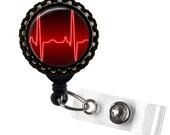 Heart Rhythm Red & Black Retractable ID Tag Badge Reel