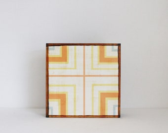geometric art for nursery- 5x5 art block- geometric nursery- kid room decor-orange wall art- redtilestudio