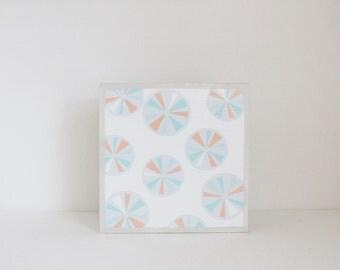 geometric circles - art for nursery- 5x5 art block- geometric nursery- kid room decor-blue wall art- redtilestudio