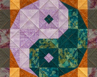 Yin Yang Checkerboard Patchwork Quilt Block Pattern