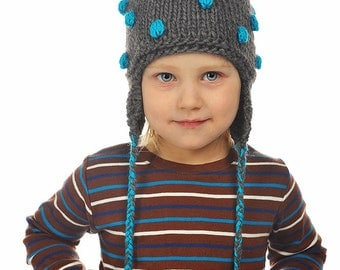 Hand Knitted Baby / Toddler Boys Pure Camel Wool Hat Grey Turquoise blue popcorn Bobbles, Pom pom Ear flaps, warm – 9-12-18-24 months, 2T