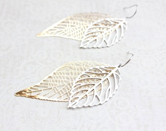 Big Gold and Silver Leaf Earrings Large Leaves Filigree Modern Long Dangle Bridal Jewelry Bridesmaids Gift For Girlfriend Nature Jewelry