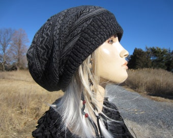 Big Slouchy Beanie Hat Black Fair Isle Knit Stocking Cap Black & Gray Cotton Oversized Baggy Tam   A1638