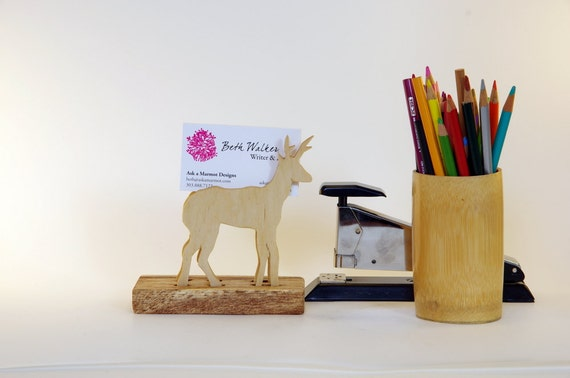 Antelope Desk Accessory--Wood holder for business cards, recipes, art cardc,  photography; reclaimed pine base/natural finish, Baltic birch