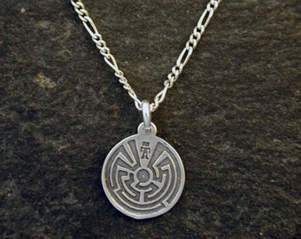 Sterling Silver Southwest Indian Maze Pendant on Sterling Silver Chain.