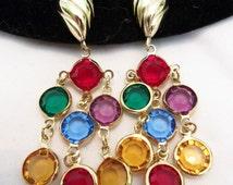 Trifari Jewelry Earrings Glass Multi-Color Bezel Set Gold Plate