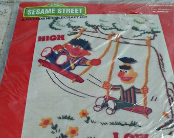 Vintage Sesame Street Unopened Stitchery Kit - Ernie and Bert Swinging Hi and Low - Creative Stitchery Needlecraft Kit Ready to Complete