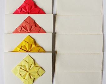 Origami Cards - Set of 4 Blank Greeting Cards - Thank you cards, Unique Bridesmaids cards, Geometric, Modern, Handmade Origami Stationery