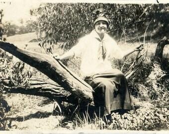 "Vintage Photo ""The Log Splitter"" Snapshot Photo Antique Photo Old Black & White Photography Found Photo Paper Ephemera Vernacular - 196"