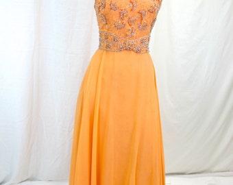1960s Orange Beaded Chiffon Evening Dress