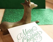 Letterpress Christmas card Hand lettered Merry Christmas in PINE GREEN Made in Australia