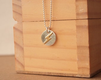 Lightning Bolt Pendant, Two Tone Weather Pendant in Silver and Brass, Lightning Necklace
