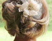 Champagne Bridal Hair Flower Clip, Hair Accessory, Bridal Hair Flower, Wedding Hair Piece, Gold Pearl Rhinestone Tulle Lace Hair Flower