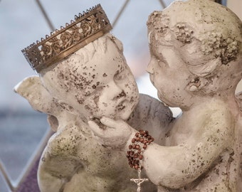Gorgeous Kissing Cherub Statue, Garden or Patio, Large Size, Pre-Order