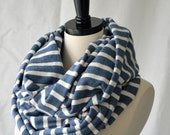 Infinity Scarf Blue and Cream Striped - Oversized Scarf - Striped Scarf