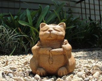 Stone MEDIUM MEDITATING CAT - Original Copyrighted Garden Sculpture (d)