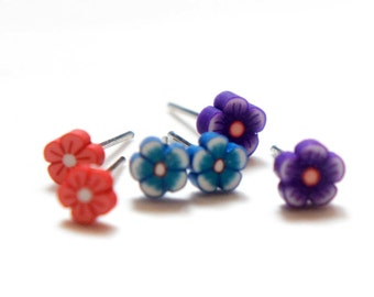 Tiny Baby Miniature Flower Post Earrings - Red / Blue / Purple
