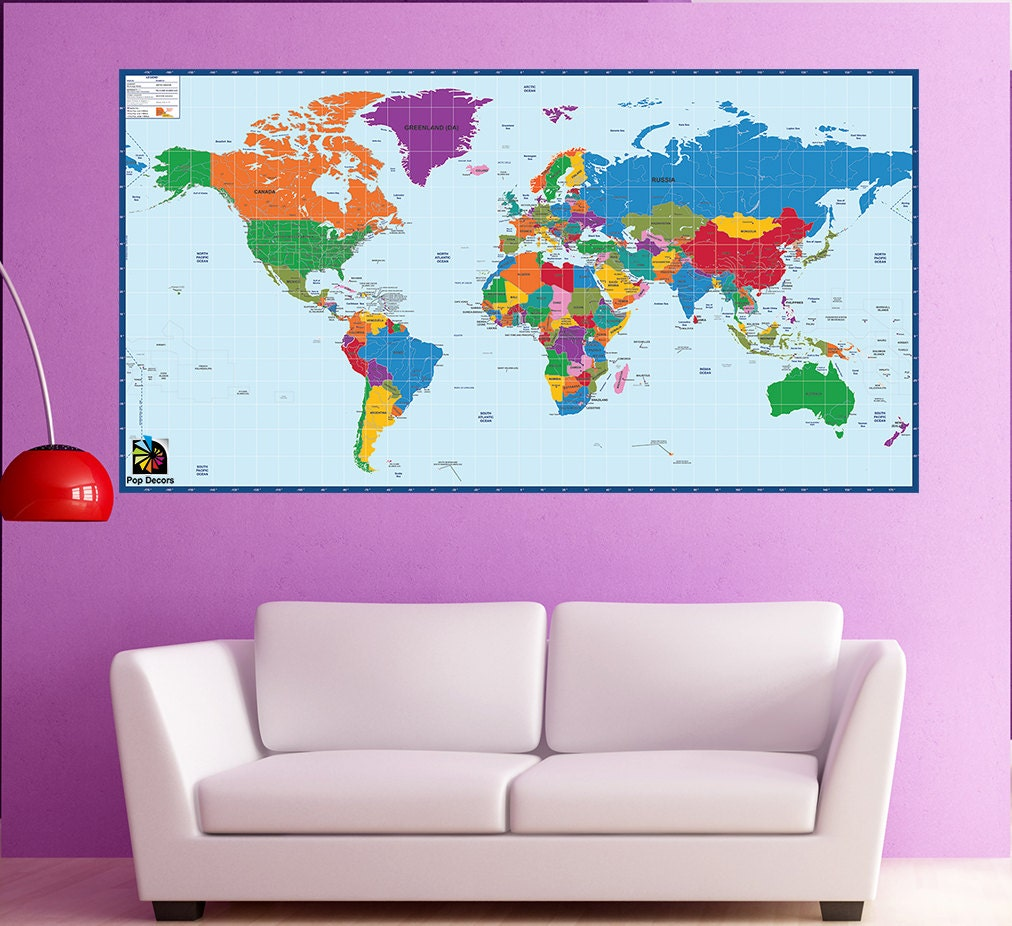 World map office wall mural children educational wall for Educational mural