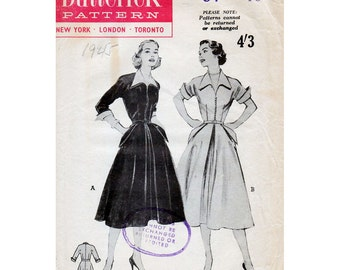 1950s Day Dress Pattern Butterick 6430 Vintage Sewing Pattern Full Skirted Dress with Wing Collar and Cuffs Bust 34 FF Unused