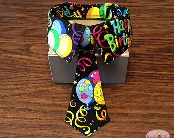 Dog Birthday Bow Tie and Collar, Cat Birthday Neck Tie and Collar