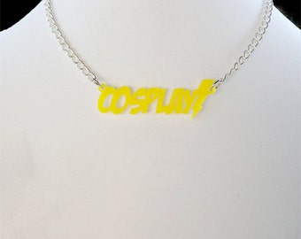 Cosplay Yellow Necklace with Lightning Bolt (laser cut acrylic)