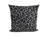 Black Off White Decorative Pillow | Linen Throw Pillow | Geometric Cushion | Indoor Outdoor Pillow