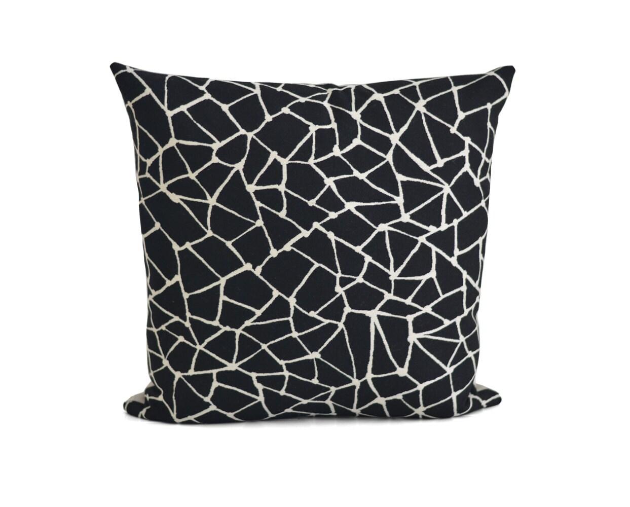Black And White Decorative Throw Pillows : Black Off White Decorative Pillow Linen Throw Pillow