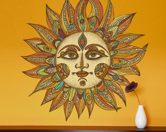 Celestial Sun Art Wall Sticker Decal - Helios by Valentina Harper