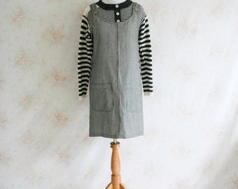 Vintage 90s Pinafore Dress, 1990s Mini Dress, Jumper, Houndstooth Print