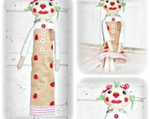 HANDMADE Primitive Folk Art Spring Strawberry Raggedy Annie Doll Pin Cushion Home Decor