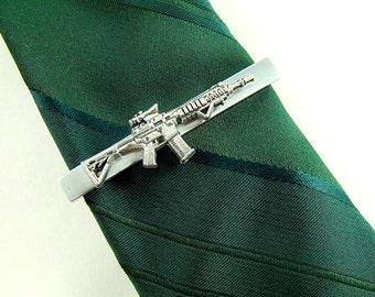 Tie Clip Tie Bar,  Silver Machine Gun Men's Accessories Handamde