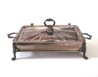 Silverplate Casserole Dish Holder with Covered Hinged Lid Tarnished Silver (Serving Dish / Casserole Dishes not included)