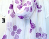 Hand Painted Silk Scarf, Purple Poppies Floral Scarf, Purple Silk Scarf. Silk Scarves Takuyo, 10x58 inches. Made to order
