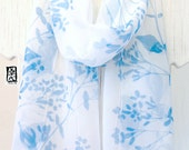 Silk Scarf Handpainted, White Scarf, Pastel Blue Spring Wildflowers Scarf, Silk Chiffon Scarf. 11x58 inches. Made to order.