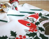 Vintage Christmas Table Cloth and Napkins Set Square Retro Holiday Entertaining Home Decor
