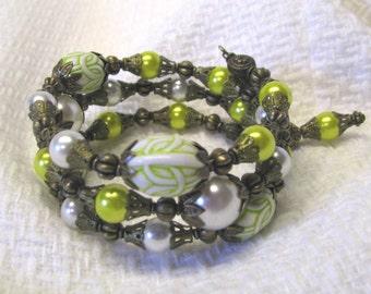 Lime Green Faux Pearl Wrap Bracelet, Bright Green Beaded Wrap Bracelet, Antique Style Memory Wire Bracelet, Faux Pearl Bracelet