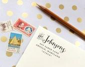 Return Address Self Inking Stamp -- Custom, Personalized, Calligraphy, Gift, Wedding, Shower, Newlyweds, Housewarming
