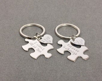 I want all of your Forever and Always, Husband Gift, Couples keychain Set Puzzle Heart Keychains, Personalized Date Keychains, Custom Gift